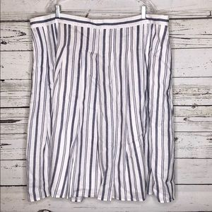 Lands' End 22W Blue Wht Striped A-Line Linen Skirt